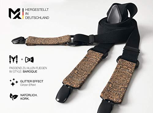 Hergestellt in Deutschland | MAY-TIE Hosenträger Schwarz mit Kork | Style: Barock | 2.5cm Breite | Y-Form | stufenlos verstellbar | Geschenk für Ihn, Mann, Hochzeit, Geburtstag