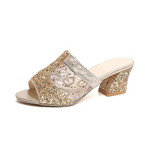 Sandalias para Mujer con tacón Cuadrado y Encaje, Color Dorado, Talla 43 EU
