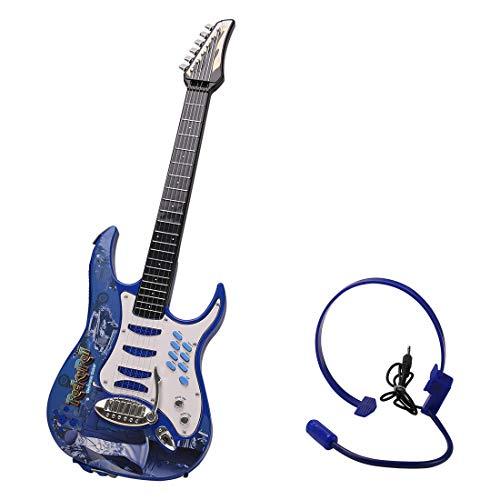 MRKE Guitarra Electrica Niños 6 Cuerdas Rock Juguete de Instrumentos Musicales con Auriculares y Correa de Guitarra para Infantil Niño...