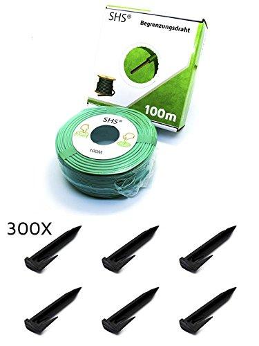100m SHS Begrenzungskabel + 300 Erdspieße Haken für Mähroboter Zubehör SET Begrenzungsdraht für Suchkabel/GARDENA / BOSCH/HUSQVARNA / WORX/HONDA / ROBOMOW/iMow