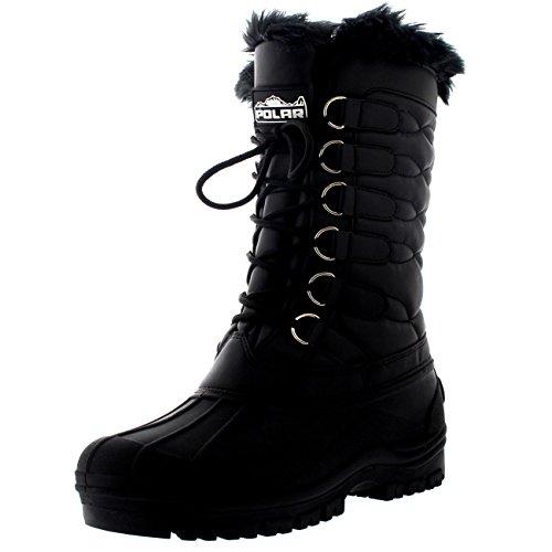 Polar Damen Nylon Wasserdicht Wetter Draussen Schnee Ente Winter Regen Pelz Manschette Lace Stiefel - Schwarz - UK4/EU37 - YC0332 - Pelz-manschette Bootie