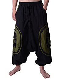 Unisex Psy Baggy Pants Hippie Goa Baumwoll Hose Black/Army