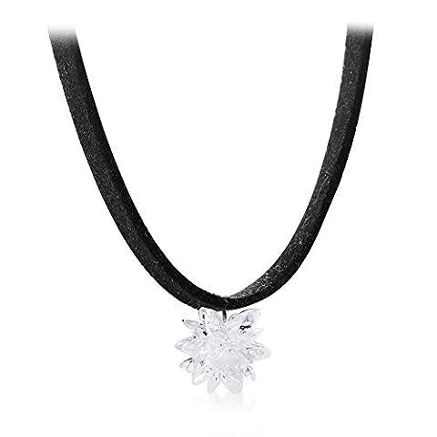 Ice schwarz Hals Halskette Koreanische Art und Weise Schlüsselbein Kragen Velvet Seil Halskette-A