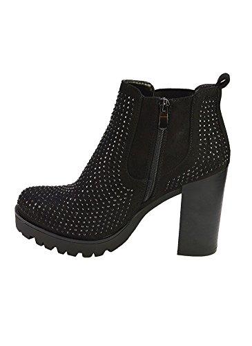 Chelsea Boots à Talon et Strass Noir Noir