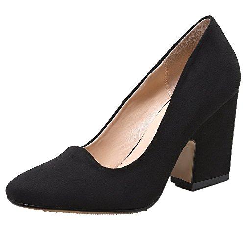 AllhqFashion Femme Carré à Talon Haut Dépolissement Couleur Unie Tire Chaussures Légeres Noir