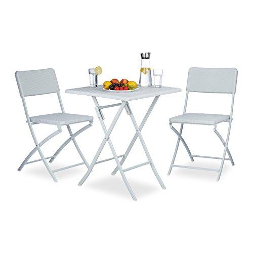 Relaxdays Gartenmöbel Set BASTIAN, 3 teilig, Sitzgruppe klappbar, quadratischer Klapptisch und 2x...