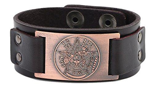 Ancient Pentagrama Nombre de Israel Dios Tetragrammaton Kabbalistic Talisman Conector de Metal Cuff Pulsera para Hombres