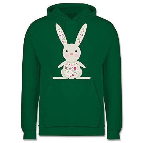 Ostern - Süßer Hase - Frühlingstiere mit Blumen - Männer Premium Kapuzenpullover / Hoodie Grün