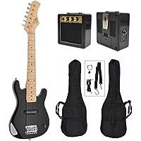 Guitare électrique enfants noir avec sac et ceinture amplificateur de haut-parleur 4-8 ans