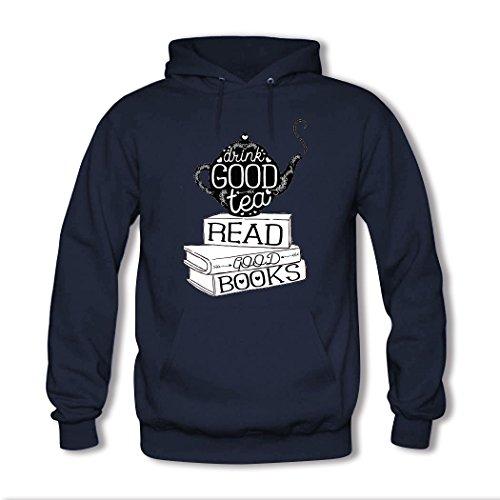 HGLee Printed DIY Custom bookworms Women's Hoodie Hooded Sweatshirt Navy--2