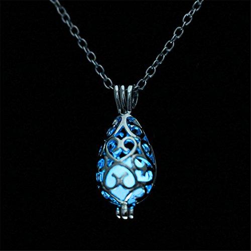 sertropfen Anhänger Halskette Glühen in der Dunkelheit Vintage Schmuck blau ()