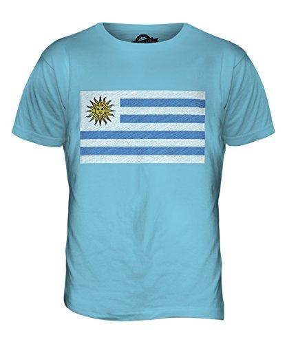 CandyMix Uruguay Kritzelte Flagge Herren T Shirt Himmelblau