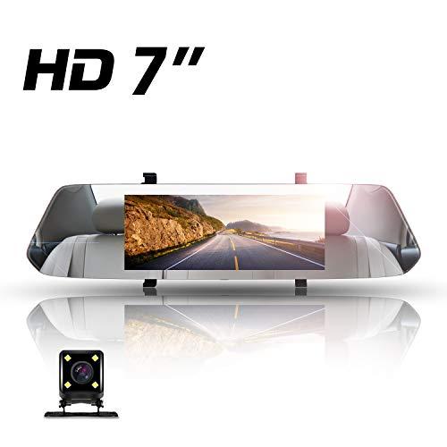 1080P Dash CAM Espejo Retrovisor,Directtyteam 7 Pulgadas Full HD Cámara para Coche Pantalla Táctil Coche Cámara Grabadora Visión Nocturna G-Sensor Cámara Vista Trasera 170 ° Gran Angulares