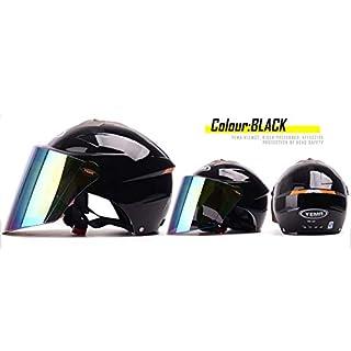 YEMA Sommer Moped-Motorradhelm Anti-Fog Verlängern Sie Die Linse Sonnencreme Coole Und Atmungsaktive Roller Half Helme Männer Und Frauen Universal,Black-54-63cm