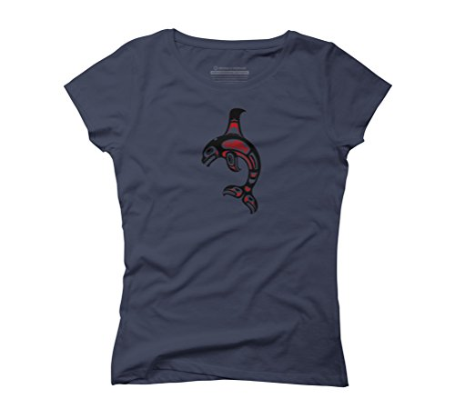 Red and Black Haida Spirit Killer Whale Women's Graphic T-Shirt - Design By Humans Navy