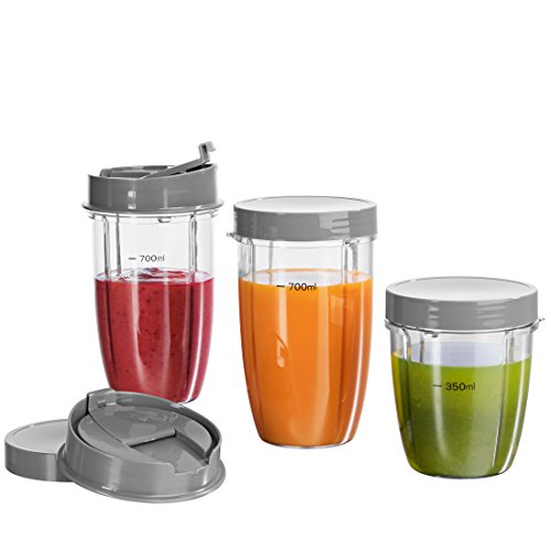 Mixer Ersatzteile (GOURMETmaxx Nutrition Mixer Becher-Set 8-tlg. in Grau ( geeignet für Nutrition Mixer, Nutrition Mixer Royal und Nutrition Mixer Deluxe))