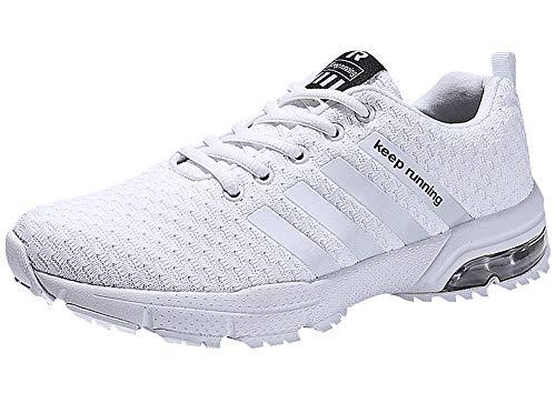 Damen Herren Laufschuhe Sportschuhe Turnschuhe Trainers Running Fitness Atmungsaktiv Sneakers(Weiß,Größe43)