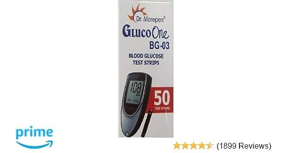 Dr  Morepen BG-03 Blood Glucose Test Strips, 50 Strips (Black/White)(Only  Strips, No Glucometer)