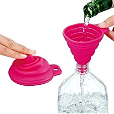 Inditradition Collapsible Silicone Funnel | for Pouring Oil, Sauce, Water, Juice, Small Food-Grains | 9 cm, Assorted Color