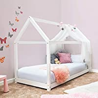 Sleep Design Childrens Treehouse Style Wooden Kids Bed Frame by White or Pine Finish Single Size (White)