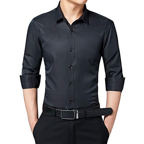 Splrit-MAN Herren Slim Fit Business Hemd Shirt für Freizeit Business Hochzeit Reine Farbe Hemd Langarm Herren-Hemd