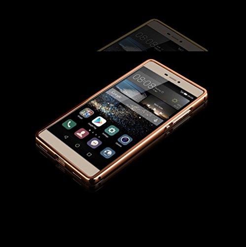 Minto Luxus Aluminium Metall Spiegelhülle Schutzhülle iPhone 8 Plus / iPhone 7 Plus Spiegel PC Rückseite Case Cover Hülle + Metall Bumper Rahmen Silber Rosegold -p8