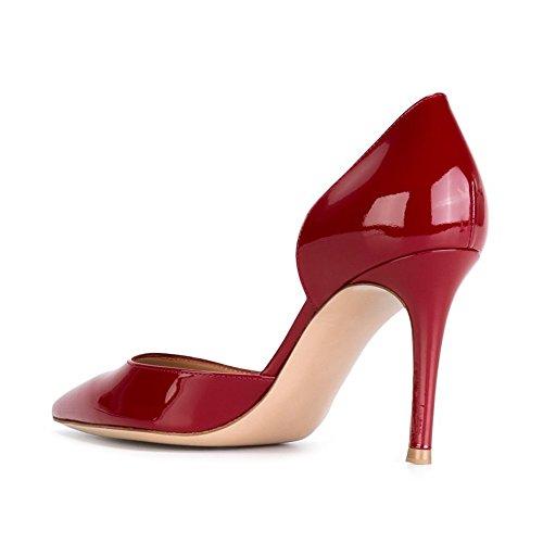 EDEFS - Escarpins Femme - Talon Haut Aiguille - Bout Pointu D'orsay Chaussures de mariee Soiree Rouge