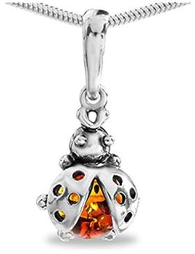 Bernstein Marienkäfer Anhänger 925 Echt Silber Kinder Mädchen Geschenkidee Ladybug #99