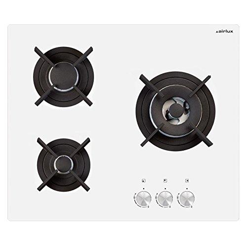 Airlux AV635HWH plaque - plaques (Intégré, Gaz, Verre, Blanc, Rotatif, En haut devant)