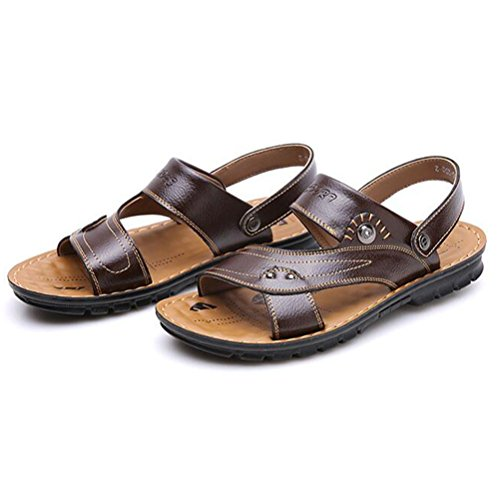 YWNC Männer Hausschuhe Leder Sandalen Flip Flop Strand Schuhe Soft Bottom Outdoor Sports Rutschfeste Casual Sommer Frauen Unisex, Brown, 40