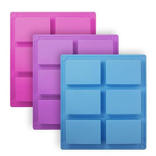 3Stück Rechteckige Silikon-Förmchen, SENHAI 6-cavity Schalen Pfannen Kuchen Backen, Schokolade Biscuit Eiswürfel, Seife, Pink, Blau, Violett