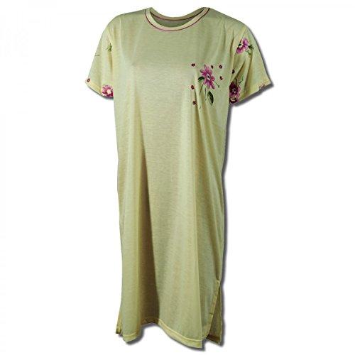Lavazio Chemise de nuit pour femme à manches courtes à motif fleuri Jaune