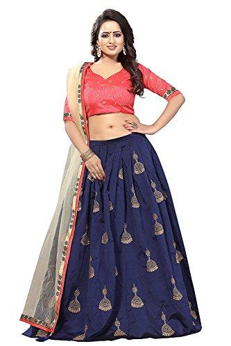 New style Taffeta silk Blue Pink color semi stitched women lehenga choli(blue_Pink...