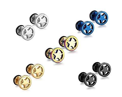 Vnox Edelstahl Pentagram 5 Sterne Ohrstecker für Herren Schrauben Rücken,Packung mit 5 Paar - Nativo Americano Del Turchese Orecchini