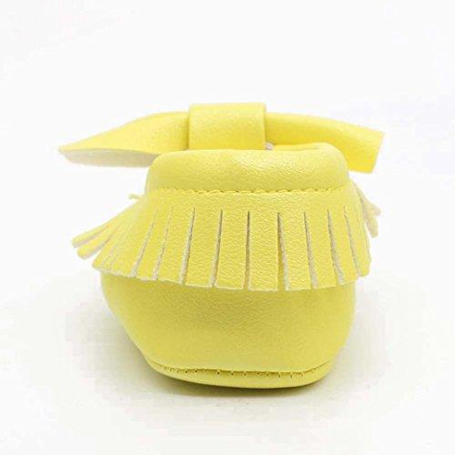 Ouneed® Krabbelschuhe , 0-18 Monat Baby Girl bowknot Quasten Sequin Schuh Kleinkind weich Sohle Turnschuhe Freizeitschuhe Gelb