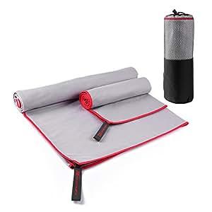 MAVE ATHLETIC ® Doppelpack Mikrofaser Handtuch Reise-Handtuch Sport-Handtuch EXTRA leicht, schnelltrocknend, antibakteriell (Grau)