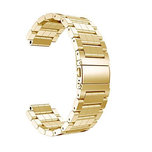 MYQyiyi myqyiyi Edelstahl-Armband Smartwatch für Garmin vivoactive (Gold)
