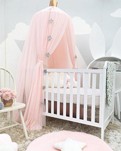 Baldachin Kinderzimmer Betthimmel Moskitonetz Kinderbett Romantische Kuschel- und Leseecke mit Himmelbett für ein Kinderzimmer (Rosa, Weiß, Khaki, Grau) Creti - 6