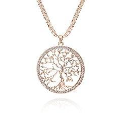Idea Regalo - Albero della vita Collana per Donna, Collana con ciondolo celtico con collana a catena lunga in cristallo oro rosa o argento (Oro rosa)