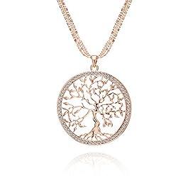 Albero della vita Collana per Donna, Collana con ciondolo celtico con collana a catena lunga in cristallo oro rosa o…