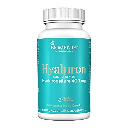BIOMENTA HYALURONSÄURE | AKTION!!! | HOCHDOSIERT 400 mg Hyaluron mit 500-700 kDa | VEGAN | 3 Monatskur | 90 Hyaluronsäure-Kapseln | Anti-Aging, Bindegewebe, Gelenke und Schleimhäute