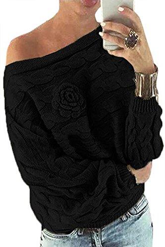 YOINS Schulterfrei Oberteile Damen Herbst Winter Off Shoulder Pullover Pulli für Damen Loose Fit mit Blumenmuster Schwarz S