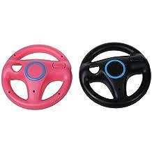 TOOGOO 2 x piezas Rosa Negro Directivo Mario Kart rueda de carreras para Nintendo Wii Remoto Juego