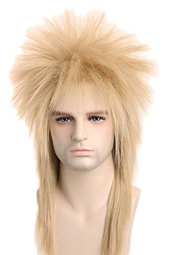 lemarina 80er Perücke für Männer Frauen Halloween Kostüme Perücken Punk Heavy Metal Meeräsche Perücke Dirty Blonde Perücke gerade lange