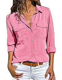 38dc1b91516da Women Shirt TUDUZ Ladies Casual V Neck Roll Long Sleeve Solid Color Button  Down Shirt Blouse