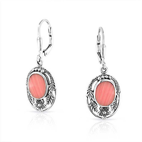 Bling Jewelry Pink Synthetisch Coral Blüte Blatt Silber Ohrringe Leverback
