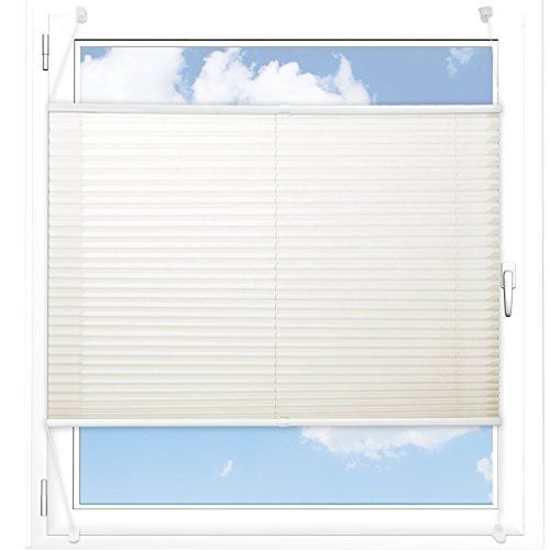 Plissee Rollo / Jalousie | Sichtschutz ohne Bohren, Klemmfix | Faltstore in moderner Crushed Optik | Offwhite | Größe wählbar (200 cm Länge x 80 cm Breite)