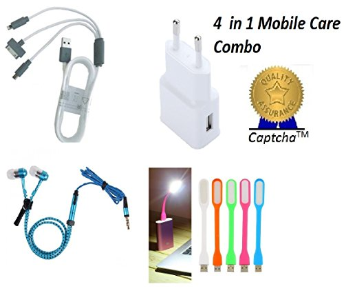 Captcha Kit of Multipurpose FAST USB 2Amp Travel Adapter, 4 in 1 Pin cable, Zipper Stereo Earphones, USB LED Light (One Year Warranty, Color May Vary)  available at amazon for Rs.549