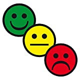 3er Set Aufkleber Etikett Produktampel Smiley auf Rolle mit 100 Aufklebern selbstklebend Ø 20 mm