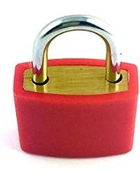 Lagiwa® - Mini cadenas en laiton recouvert par une couche plastique dur couleur rouge